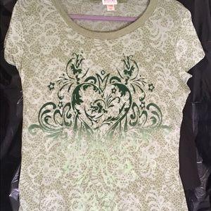"Green paper-thin ""burn-out"" T-shirt"